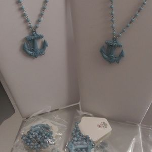 NWTS 4 NOBLESSE NAVY ANCHOR SAILOR NECKLACES B165